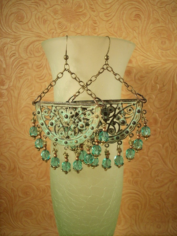 Gypsy Cowgirl Brass Filigree Earrings with a Virdigris Finish and Czech Crystal