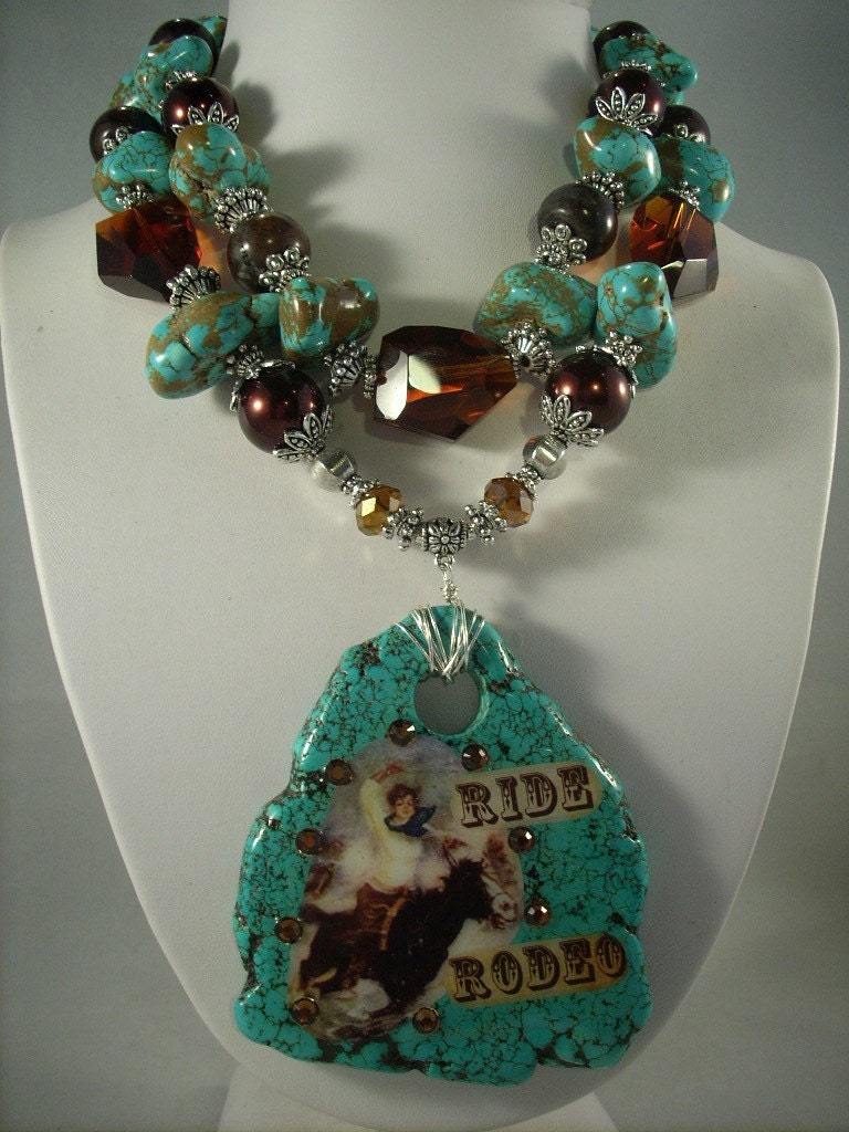 Chunky Turquoise Rodeo Cowgirl Necklace
