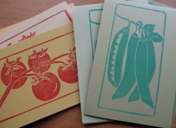 handprinted garden veggie notecards