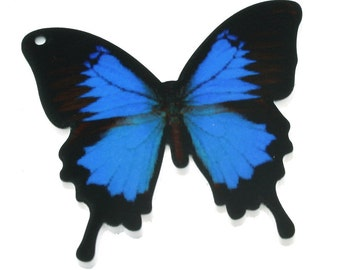 B18 New Butterfly 3 blue Printed Acrylic Pendant diy