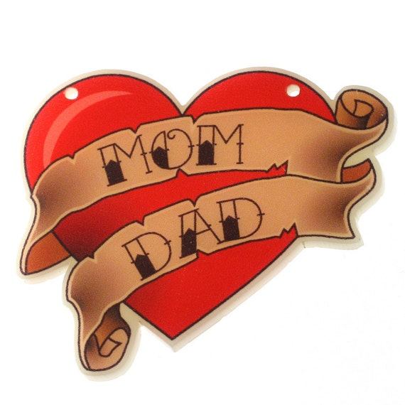 Mom Dad Heartbeat Tattoo: Items Similar To B59 Printed Tattoo 'Mom & Dad' Heart
