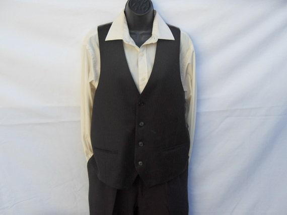 Men's Vintage Waistcoat Vest Large black