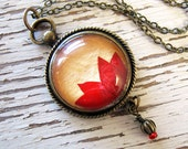 Real Pressed Flower Jewelry - Jungle Flame Flower Vintage Inspired Necklace
