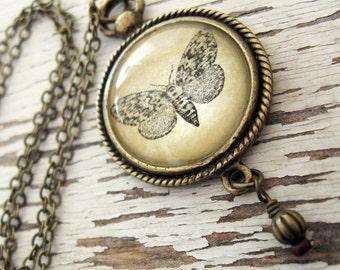 Moth, Vintage Art Pendant