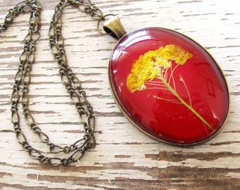 Real Pressed Flower Jewelry - Oval Red and Yellow Botanical Necklace