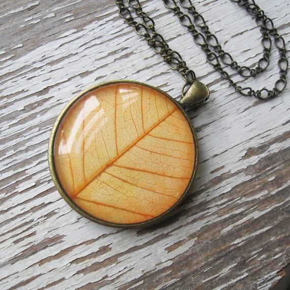 Real Leaf Necklace - Harvest Moon Botanical Necklace in Antique Brass