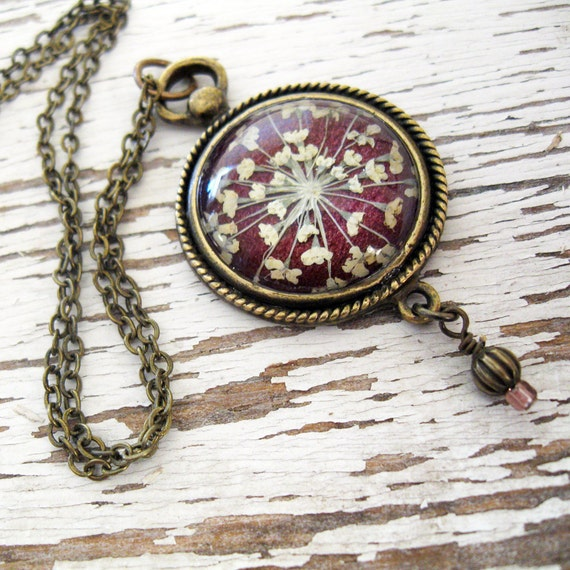 Real Pressed Flower Jewelry - Romantic Plum Queen Annes Lace Vintage Inspired Necklace