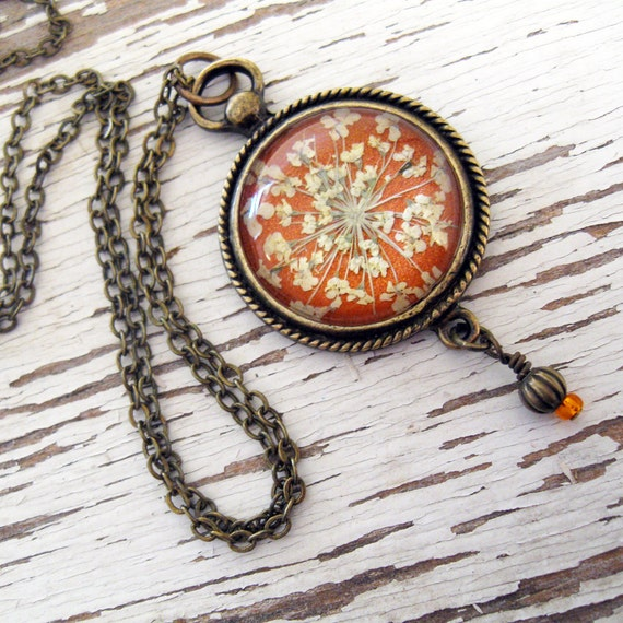 Real Pressed Flower Necklace - Romantic Orange Queen Annes Lace Vintage Inspired Necklace