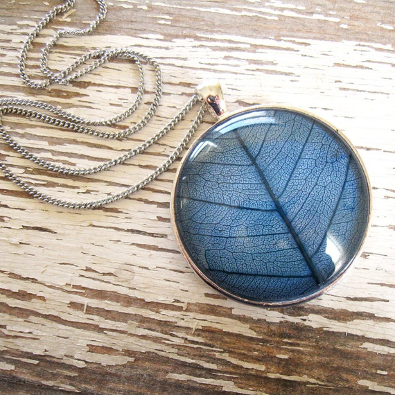 Real Leaf  Necklace - Midnight Blue and Silver Leaf Necklace