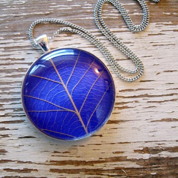 Bright Purple Leaf Necklace