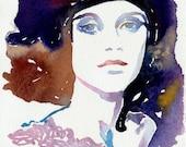 Print of Watercolor Fashion Illustration. Titled - Marion Cotillard