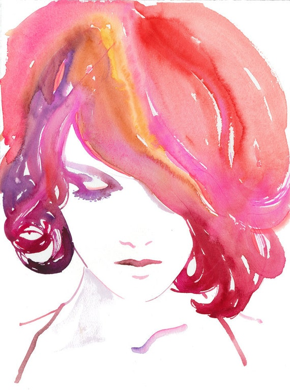 Fashion Illustration Print, Fashion Print, Watercolor Fashion Illustration, Pink hair, red hair, Hair Illustration, Fashion Poster