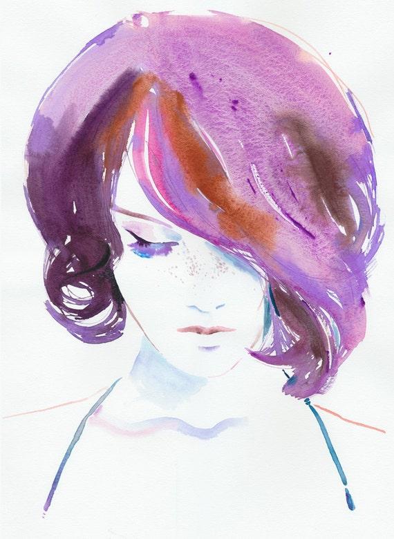 Watercolour Fashion Illustration - Violaa