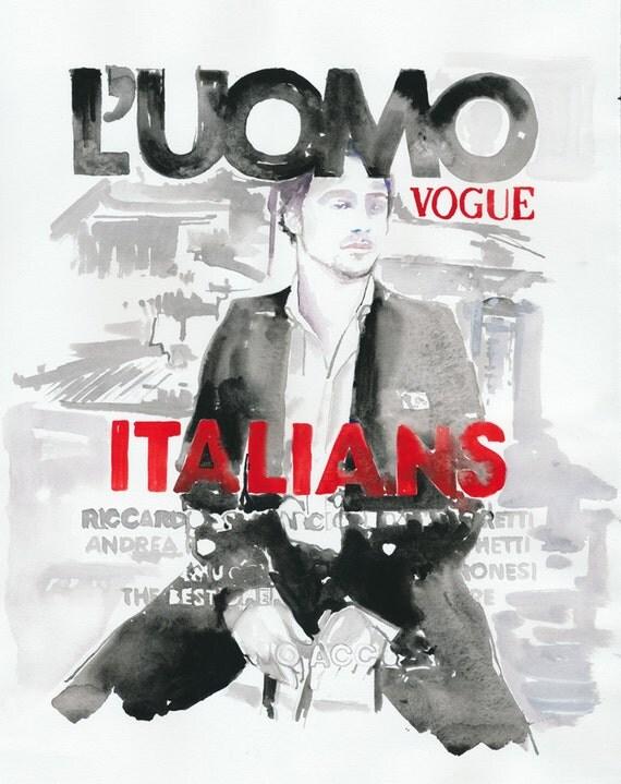 Art, Watercolour Illustration,  Fashion Illustration,  watercolour painting Vogue L Uomo.
