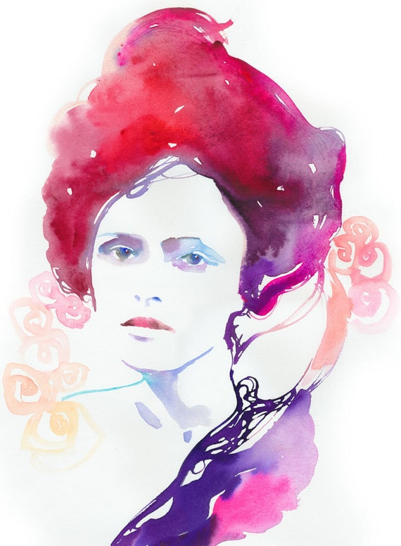 Original Fashion Illustration, Watercolour Painting. Titled: Modelink Red