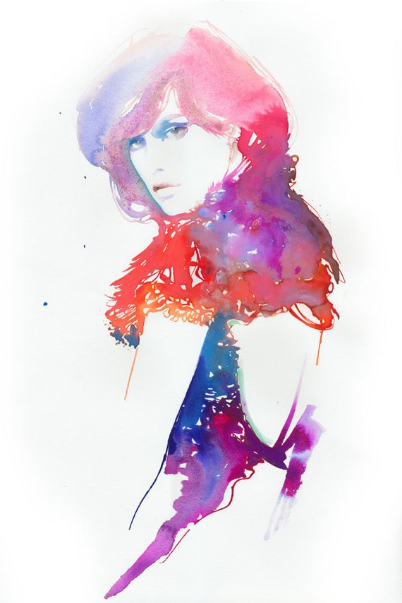 Original Watercolour Fashion illustration, Watercolor Painting, Titled: ModelinkMilla