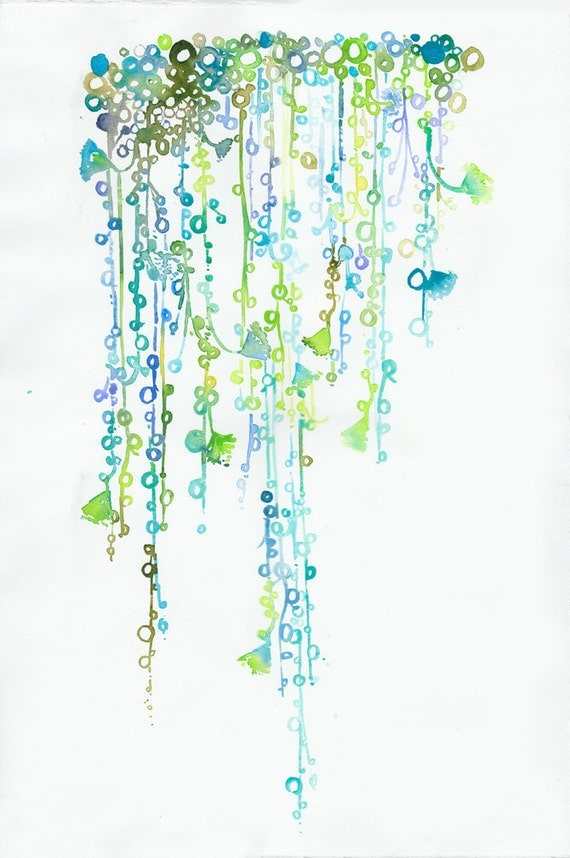 Watercolor painting, illustration - cactus string of pearls  - New Series - Garden Series