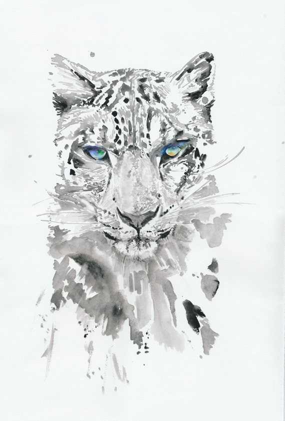 Original Watercolor Painting of leopard,  Watercolour  Illustration of white leopard,  titled:leopard3
