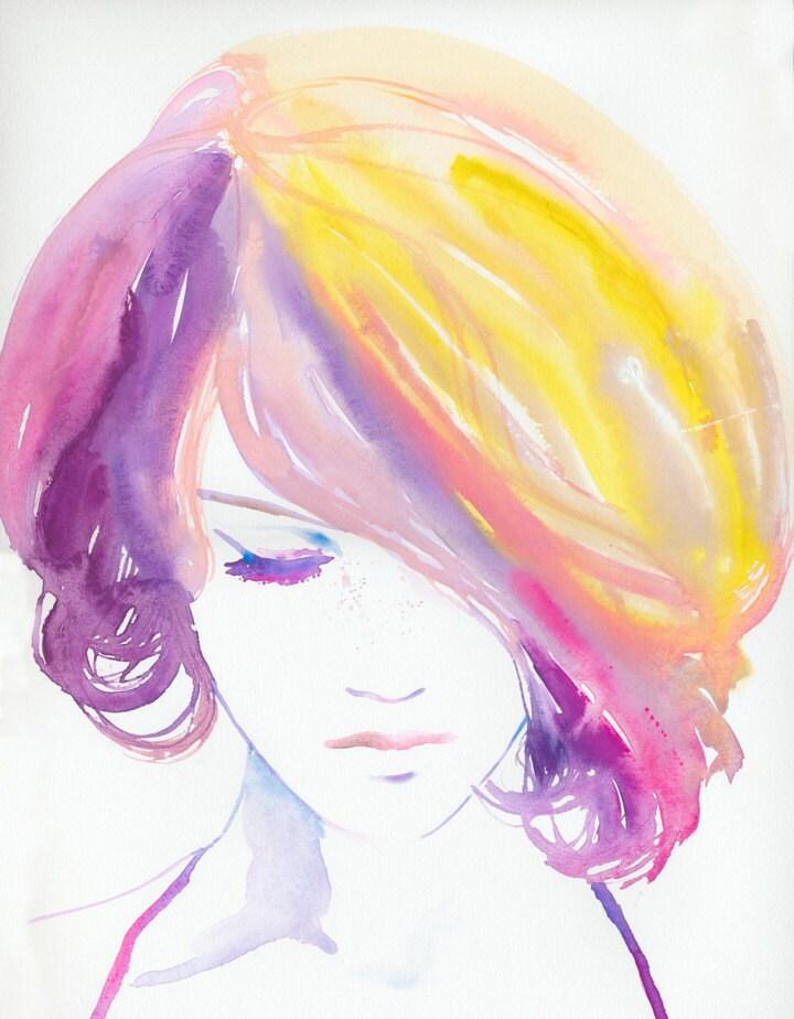 Watercolour Painting Fashion Illustration Jaune