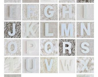 ABC Print Alphabet Wall Art, Alphabet Print Wall Art, Alphabet Photography Letter Art, Baby Room Art, Nursery Artwork, White Grey Neutral
