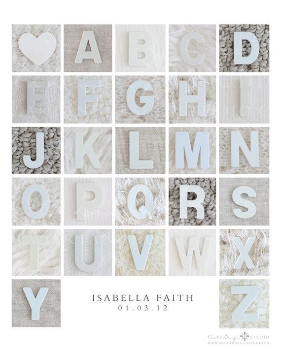 The Alphabet, Alphabet Photography Letter Art, Baby Room Art, Nursery Artwork, Neutral, Calm Decor, Serene Decor, Alphabet Print, ABC's