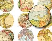 Printable Maps, 2 inch Circles, Digital Collage Sheet, Digital Circle, Vintage Map, Old maps