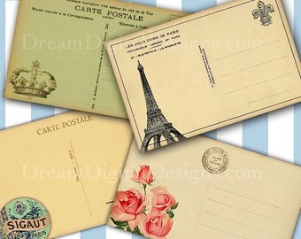Paris Postcard backs Printable Collage Sheet for Tags Scrapbooking Vintage French