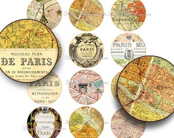 Paris Map 2 inch Circles, Vintage Paris Printable Download, Collage Sheet, French Vintage Ephemera