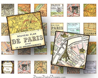 Paris Map 1 x 1, Printable Squares, Digital Collage Sheet, France Maps, Printable Download