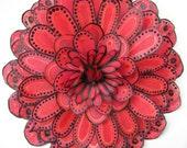 Red hand painted silk flower - brooch