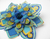 Blue and gold - hand painted natural silk flower brooch