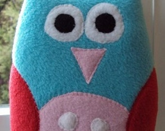 Plush Owl Pillow Hoot - Turquoise, Pink and Red Owl