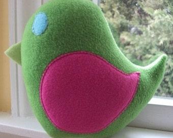 Pink and Green Plush Bird - Bird Pillow - Watermelon Bird - Nursery Decor