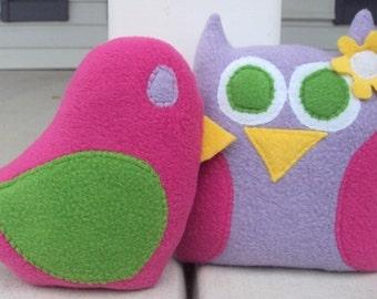 Custom Owl and Bird Pillow - Plush Owl Pillow and Bird Set