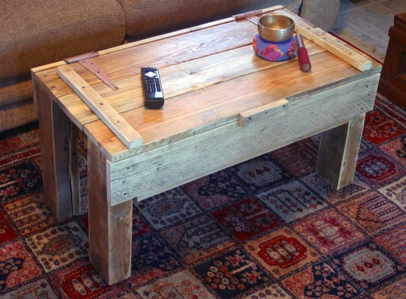 reclaimed pallet wood coffee table with storage ... noah -- on sale