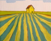 Golden Farmhouse- 8x8 Original Barn Oil Painting on Canvas- Farm Landscape