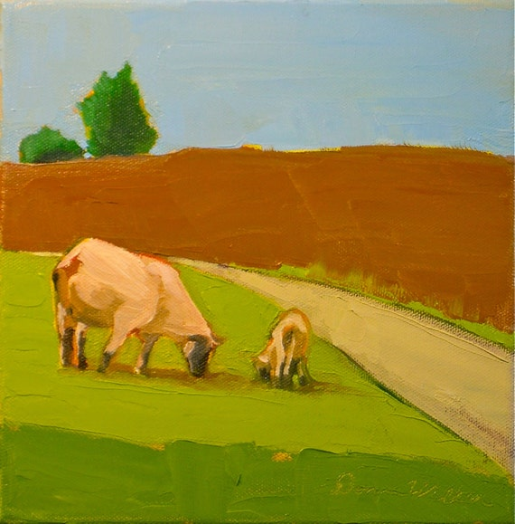 Sheep May Safely Graze- 8x8 Original Oil Painting on Canvas- Animal, farm, pair
