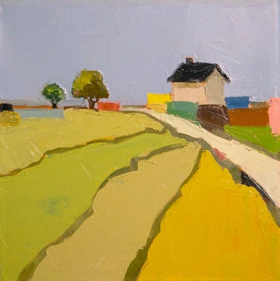 Farmhouse Color- 8x8 Original Oil Painting on Canvas- Farmhouse, Landscape