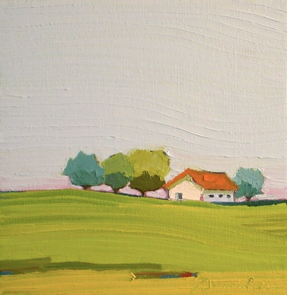 Blue and Orange- 8x8 Original Oil Painting on Canvas- Farm, Landscape, Cottage