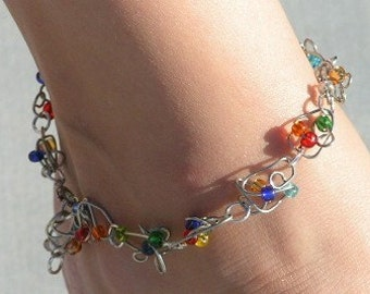 Multicolor Anklet ~ Adjustable Anklet ~ Colorful Anklet