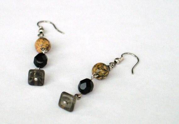SALE Picture Jasper Earrings  Black Clip on Earrings Clip on Drop Earrings  Pierced Drop Earrings
