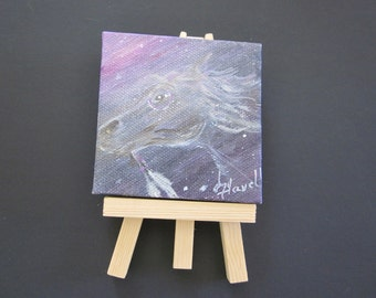 "SPIRIT HORSE....Original Oil.....Native American....3""X3"" Desktop....includes Easel"