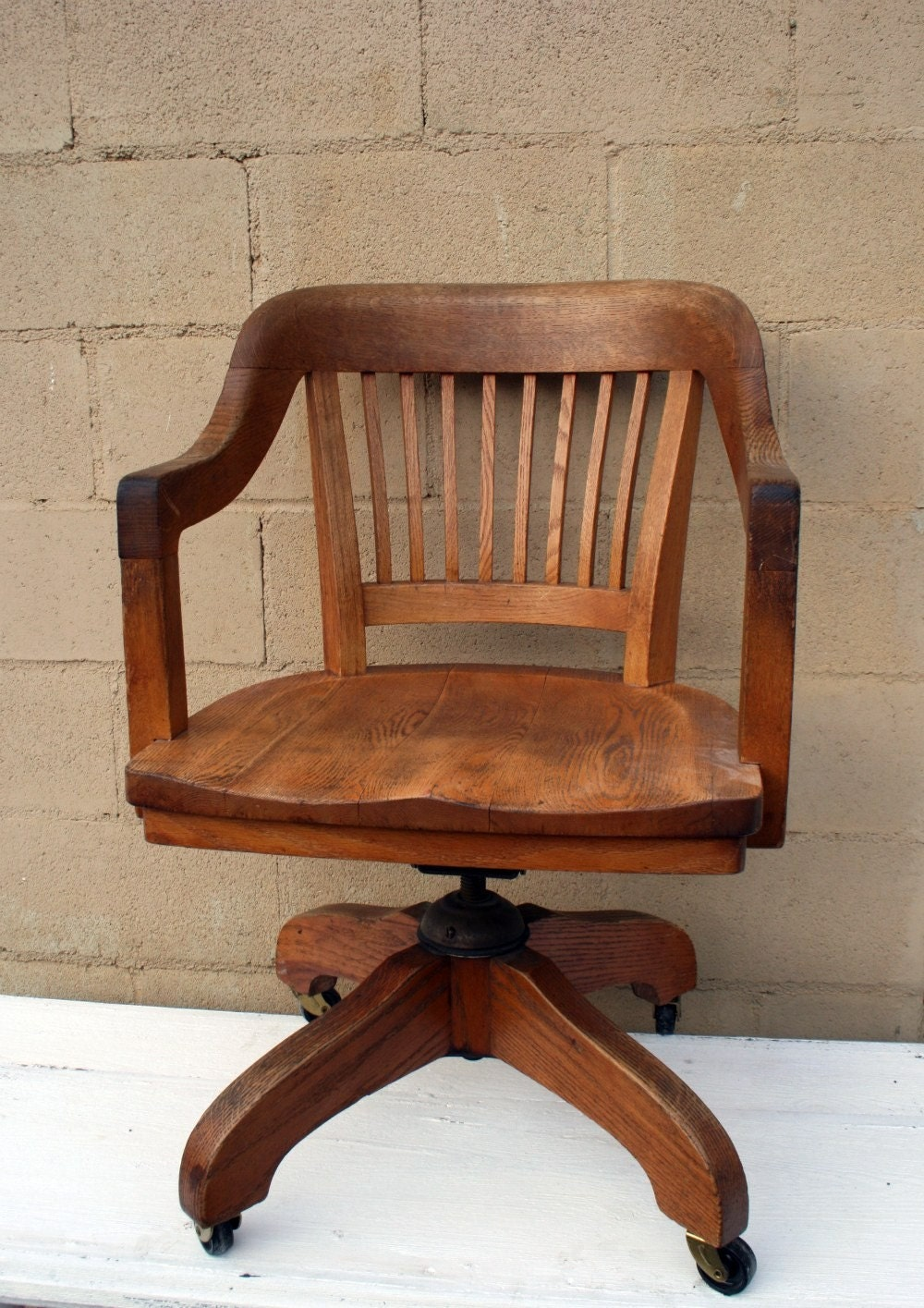 Vintage oak office chair for Wooden office desk chair