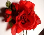 Red Rose Silk Corsage Cut Velvet Pin Vintage 60's Hat Ornament