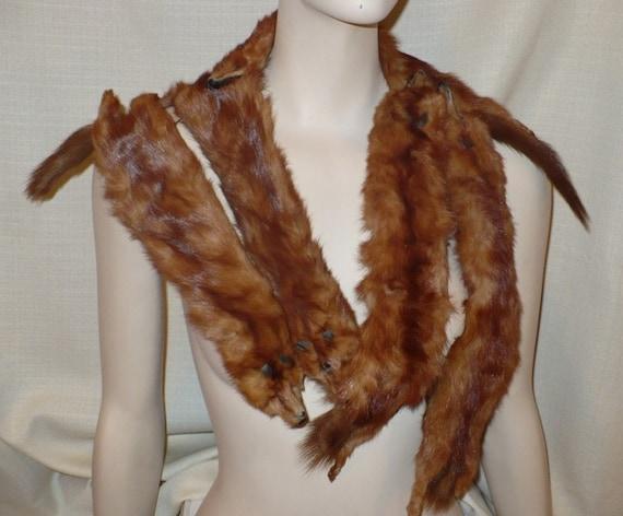Fur Stole 20's Vintage Flapper Six Full Pelts Red Weasel Vintage