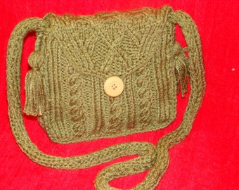 Comfy  Cabled MESSENGER Bag with Knitted Handle Tassels Button Closure