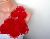 Organza Red Fabric Flowers Aplique sewn Set of 8 pcs different size