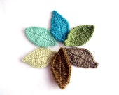 Crocheted applique Leaves 30 piece various colors of green