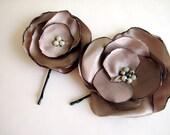 pale brown hair flower, Set of fabric Hair Pins, puce hair accessory