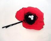 Natural poppy  hair flower  fabric Hair Pins, red  hair accessory